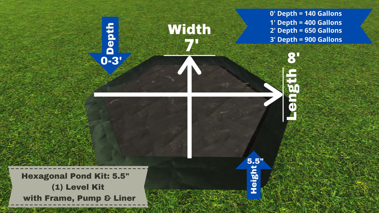"Hexagonal Pond Kit - ""You Dig"" - Pond Series Water Gardens Frame It All No Dig Depth + 5.5"" Bed Height (1 Levels) = 150 Gallons Atlantic MD250"