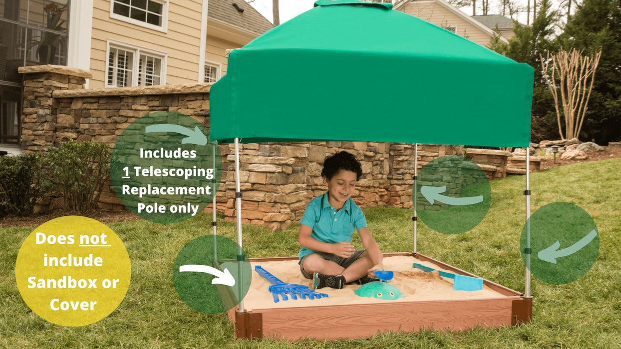 Telescoping Sandbox Canopy Pole (Replacement - Single) Accessory, Screw-Type Designs & Other Parts Frame It All