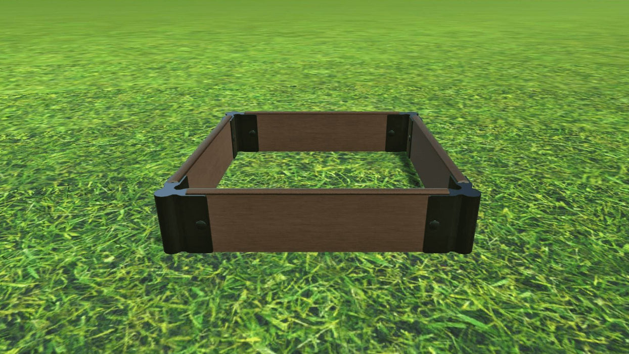 "Tool-Free 2' x 2' Raised Garden Bed Raised Bed Planters Frame It All Uptown Brown 1"" 1 = 5.5"""