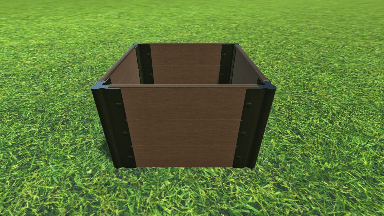 "Tool-Free 2' x 2' Raised Garden Bed Raised Bed Planters Frame It All Uptown Brown 1"" 3 = 16.5"""