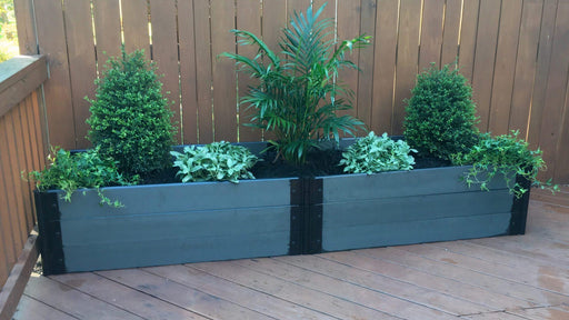 Tool-Free 2' x 8' Raised Garden Bed (2' and 4' Sections) Raised Bed Planters Frame It All Weathered Wood 1'' 3 = 16.5""