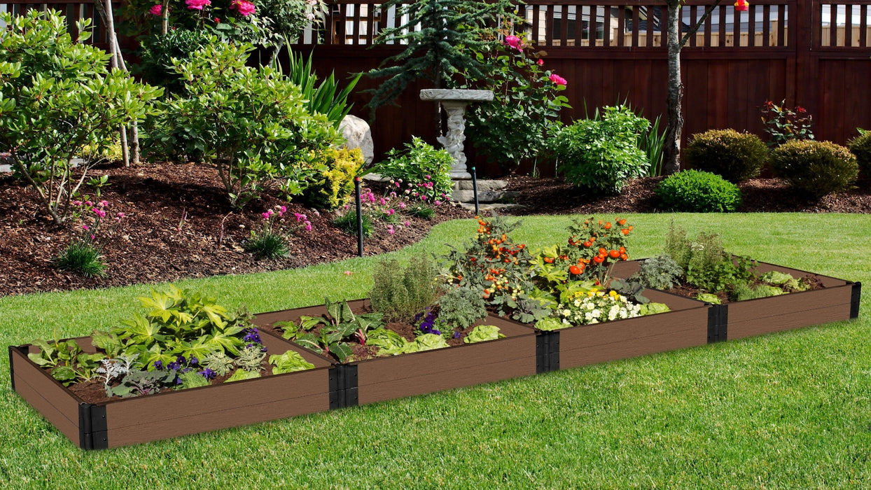 "Tool-Free 4' x 16' Raised Garden Bed Raised Garden Beds Frame It All Uptown Brown 1"" 2 = 11"""