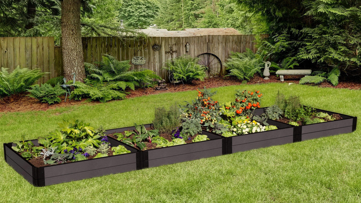 "Tool-Free 4' x 16' Raised Garden Bed Raised Garden Beds Frame It All Weathered Wood 1"" 2 = 11"""