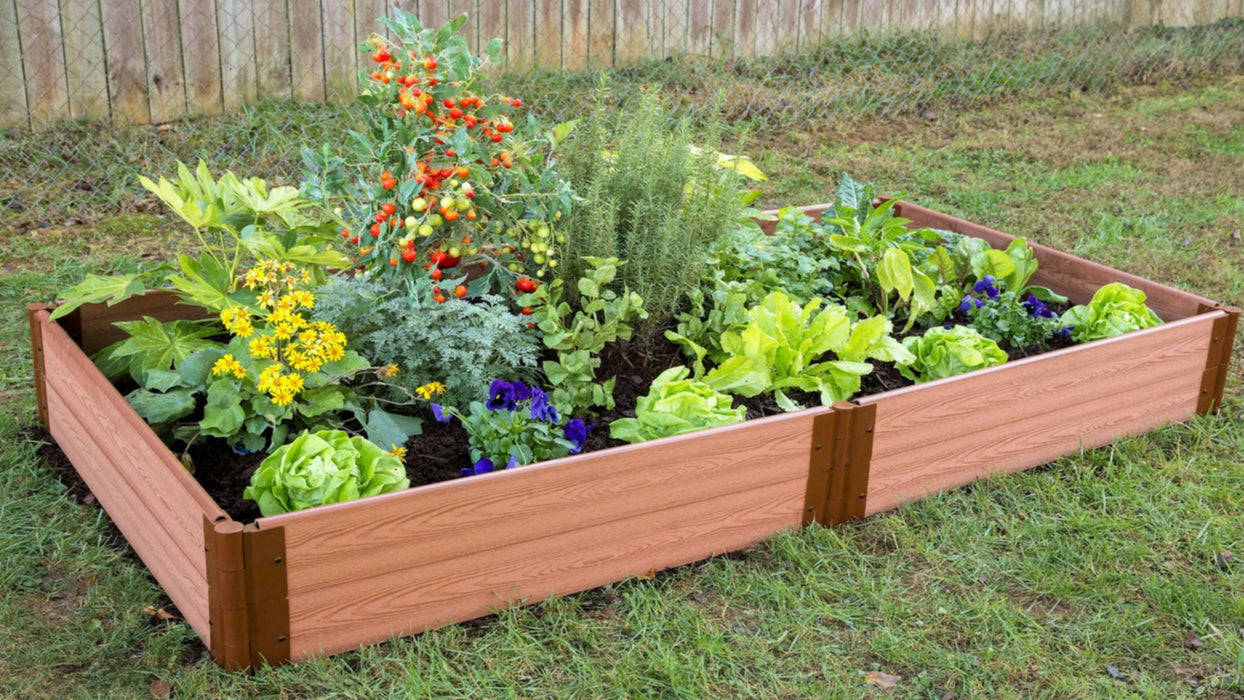 Tool-Free 4' x 8' Raised Garden Bed Raised Garden Beds Frame It All Classic Sienna 1'' 2
