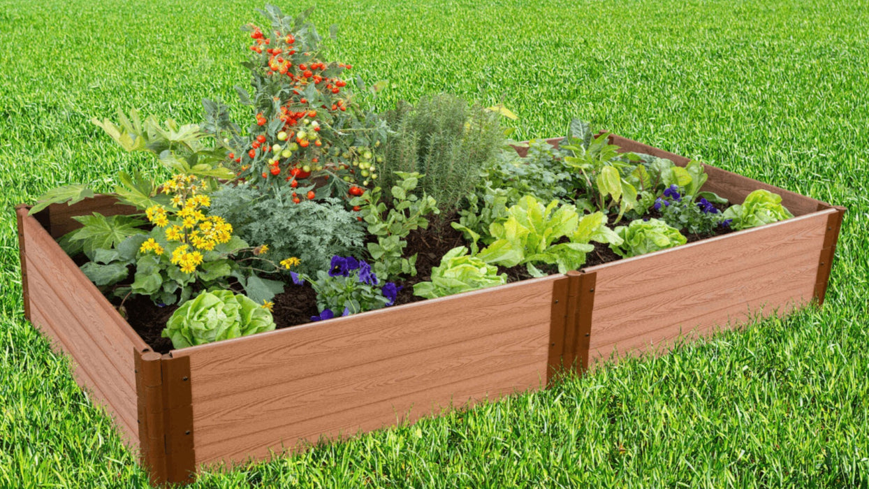 Tool-Free 4' x 8' Raised Garden Bed Raised Garden Beds Frame It All Classic Sienna 1'' 3