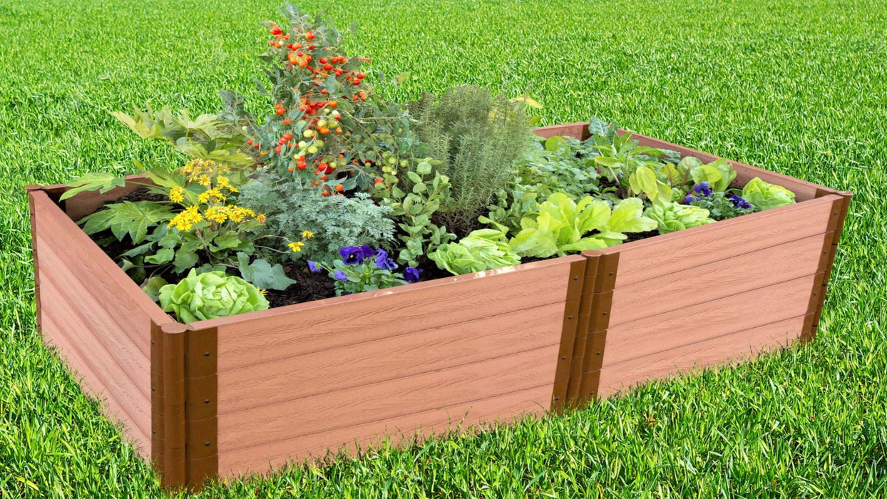 "Tool-Free 4' x 8' Raised Garden Bed Raised Garden Beds Frame It All Classic Sienna 2"" 4"