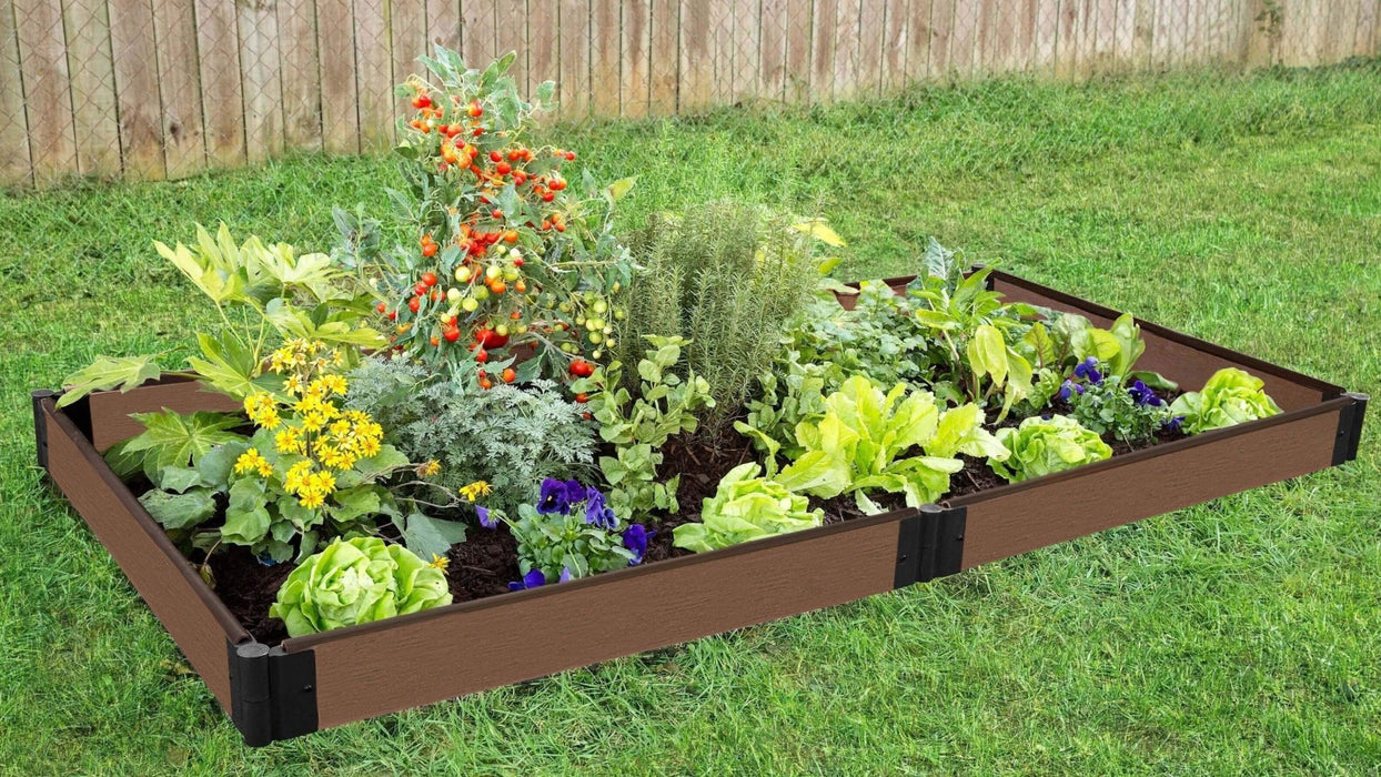 Tool-Free 4' x 8' Raised Garden Bed Raised Garden Beds Frame It All Uptown Brown 1'' 1