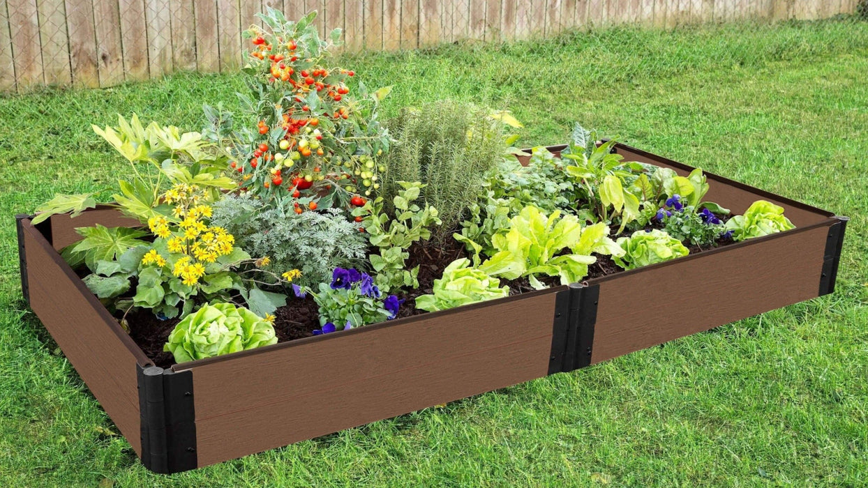 Tool-Free 4' x 8' Raised Garden Bed Raised Garden Beds Frame It All Uptown Brown 1'' 2