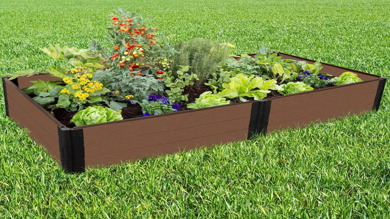 Tool-Free 4' x 8' Raised Garden Bed Raised Garden Beds Frame It All Uptown Brown 1'' 3