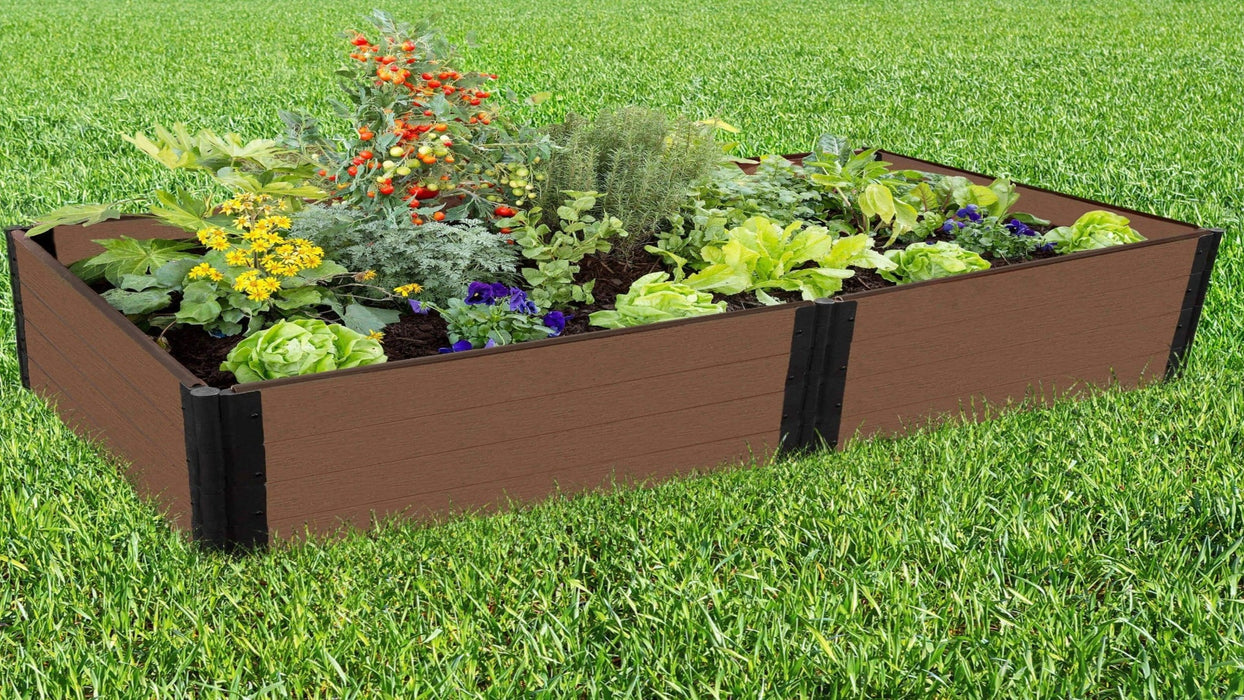Tool-Free 4' x 8' Raised Garden Bed Raised Garden Beds Frame It All Uptown Brown 1'' 4