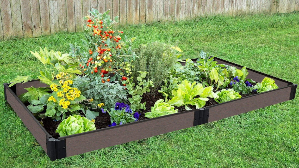 Tool-Free 4' x 8' Raised Garden Bed Raised Garden Beds Frame It All Weathered Wood 1'' 1