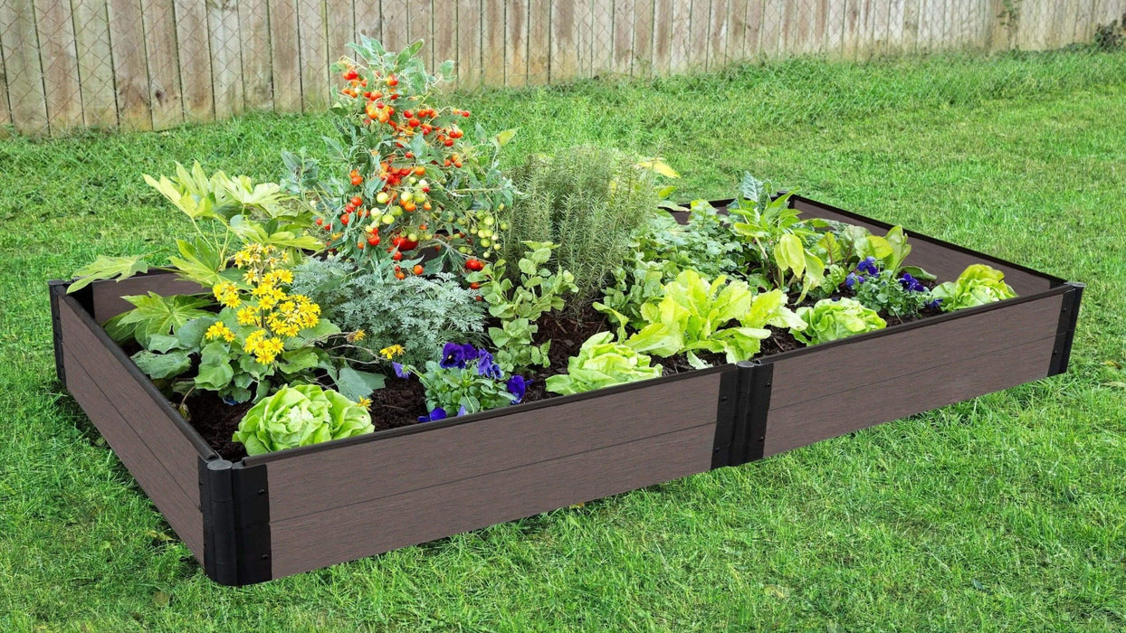 Tool-Free 4' x 8' Raised Garden Bed Raised Garden Beds Frame It All Weathered Wood 1'' 2