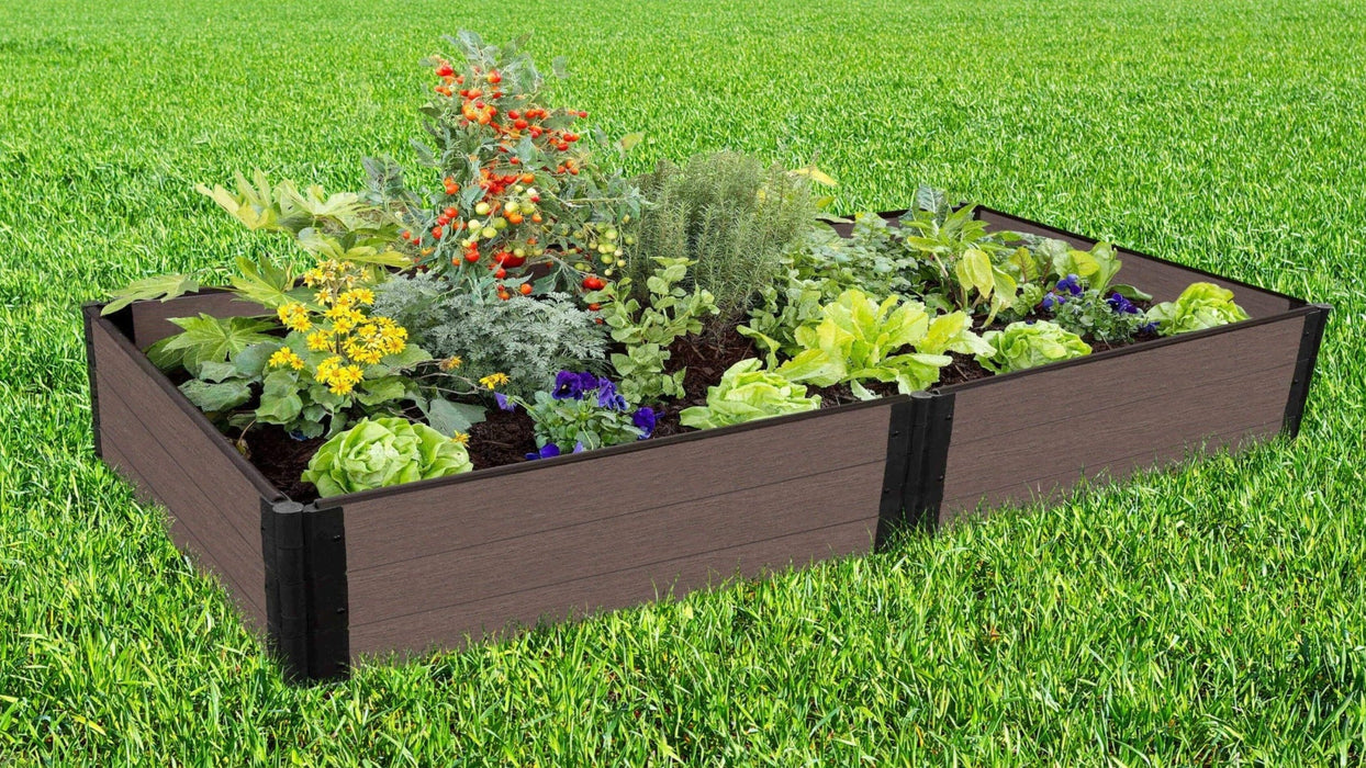Tool-Free 4' x 8' Raised Garden Bed Raised Garden Beds Frame It All Weathered Wood 1'' 3