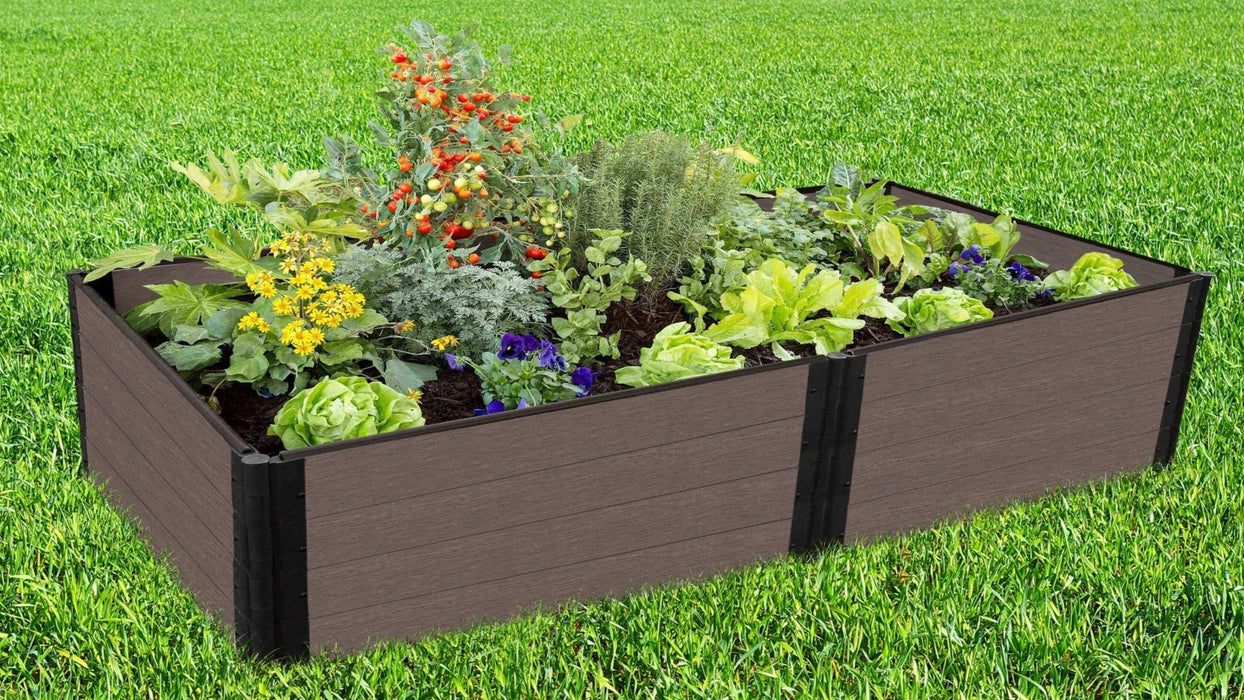 Tool-Free 4' x 8' Raised Garden Bed Raised Garden Beds Frame It All Weathered Wood 1'' 4