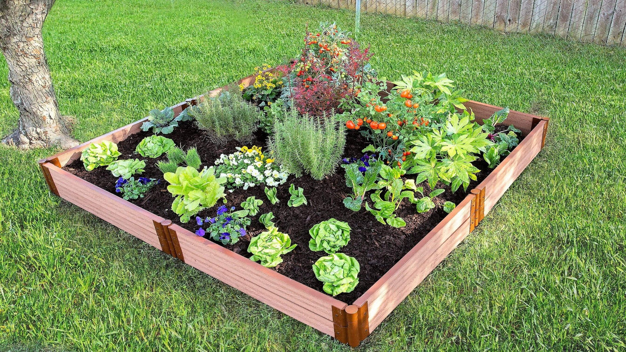 "Tool-Free 8' x 8' Raised Garden Bed Raised Garden Beds Frame It All Classic Sienna 2"" 2"