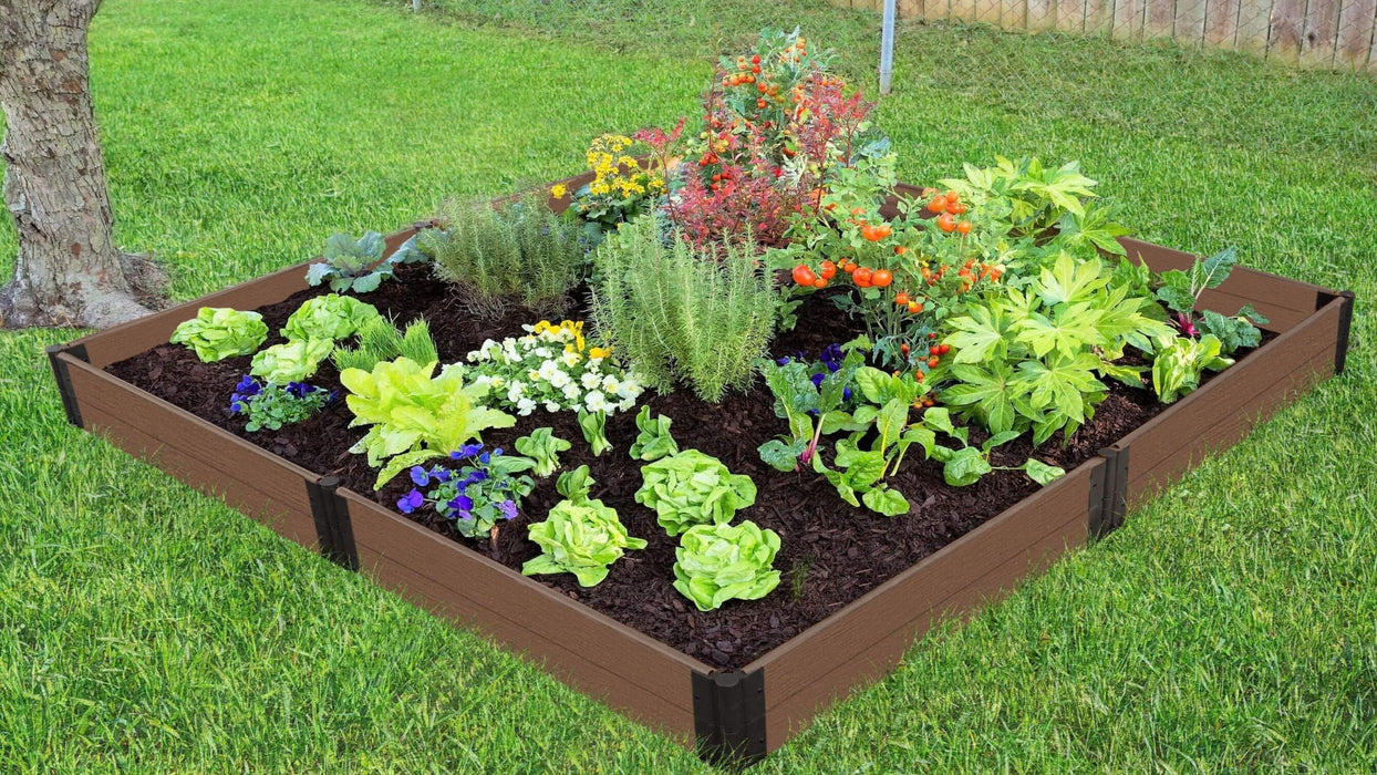 "Tool-Free 8' x 8' Raised Garden Bed Raised Garden Beds Frame It All Uptown Brown 1"" 2"