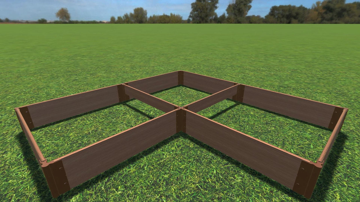 "Tool-Free 'Arrowhead' - 8' x 8' Straight Corner Raised Garden Bed Raised Garden Beds Frame It All Classic Sienna 1"" 2 = 11"""
