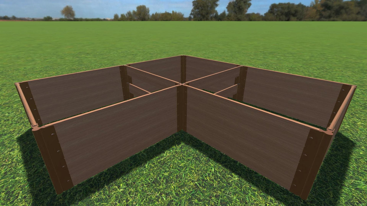 "Tool-Free 'Arrowhead' - 8' x 8' Straight Corner Raised Garden Bed Raised Garden Beds Frame It All Classic Sienna 1"" 4 = 22"""