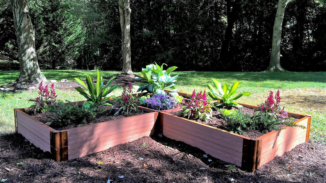 "Tool-Free 'Arrowhead' - 8' x 8' Straight Corner Raised Garden Bed Raised Garden Beds Frame It All Classic Sienna 2"" 2 = 11"""