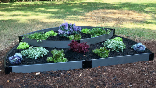 "Tool-Free 'Blackbeard's Hat' - 6' x 8' Semi Circle Terrace Garden Raised Bed (Double Tier) Raised Garden Beds Frame It All Weathered Wood 1"" 2 Tier Terrace"