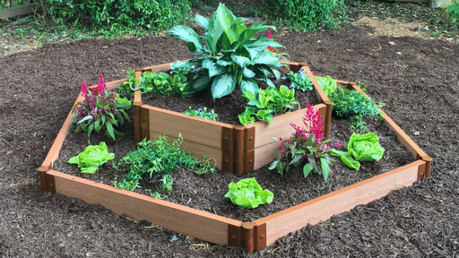 "Tool-Free 'Castle Moat' - 7' x 8' Hex in Hex Terrace Garden Raised Bed (Double Tier) Raised Bed Planters Frame It All Classic Sienna 2"" 1 Level Outside with 2 Levels Inside"