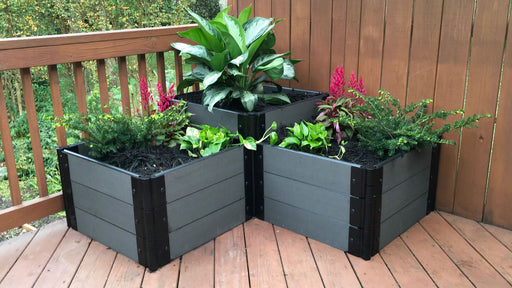 "Tool-Free 'Chateau Marmont' - 4' x 4' Terrace Garden Raised Bed (Double Tier) Raised Bed Planters Frame It All Weathered Wood 1"" 3 Level Bottom with 1 Level Top"