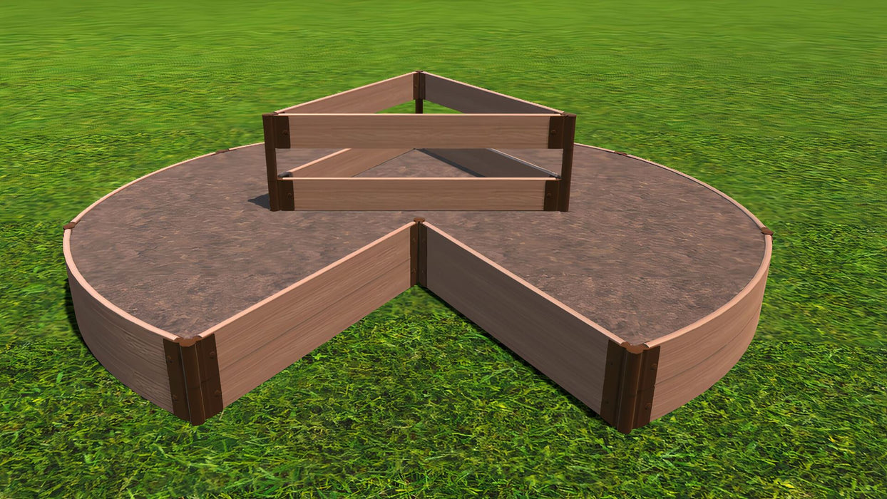 "Tool-Free 'Circle Keyhole Garden' - 9' x 9' Raised Bed with Composter Raised Garden Beds Frame It All Classic Sienna 1"" 2 = 11"""