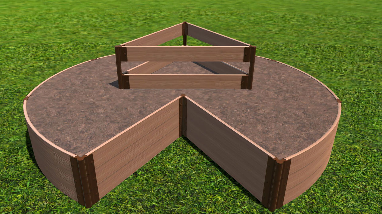 "Tool-Free 'Circle Keyhole Garden' - 9' x 9' Raised Bed with Composter Raised Garden Beds Frame It All Classic Sienna 1"" 3 = 16.5"""