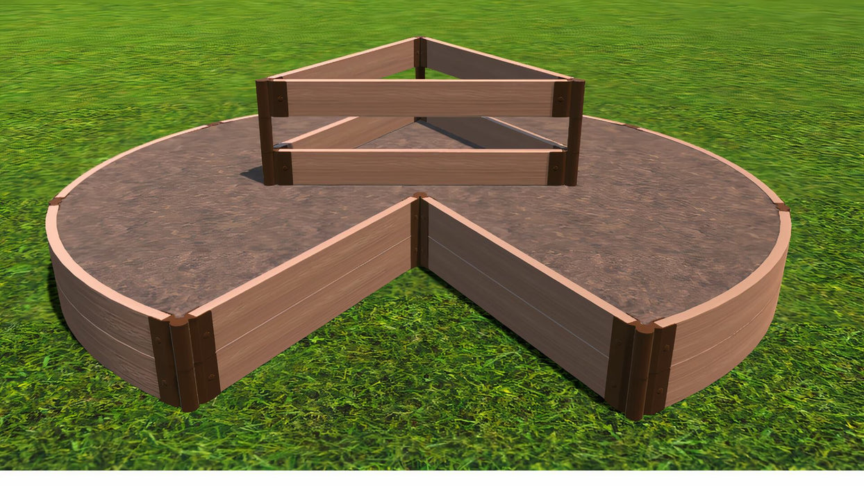 "Tool-Free 'Circle Keyhole Garden' - 9' x 9' Raised Bed with Composter Raised Garden Beds Frame It All Classic Sienna 2"" 2 = 11"""