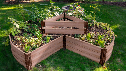 "Tool-Free 'Circle Keyhole Garden' - 9' x 9' Raised Bed with Composter Raised Garden Beds Frame It All Classic Sienna 2"" 3 = 16.5"""