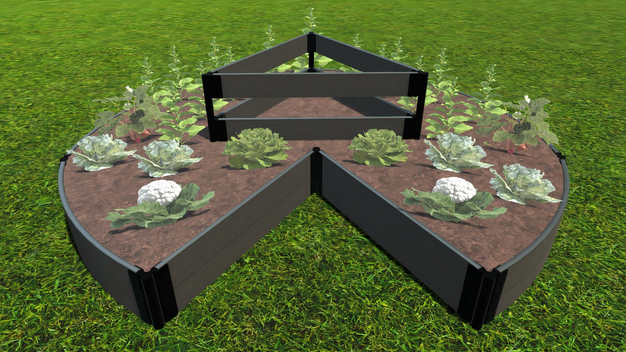 "Tool-Free 'Circle Keyhole Garden' - 9' x 9' Raised Bed with Composter Raised Garden Beds Frame It All Weathered Wood 1"" 2 = 11"""