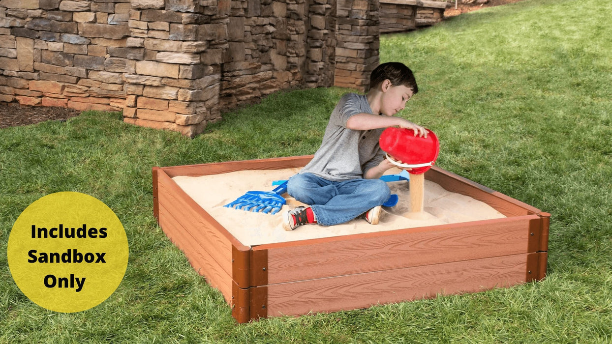 "Tool-Free Classic Sienna 4' x 4' x 11"" Composite Square Sandbox - 2"" profile Sandboxes Frame It All Classic Sienna 2"" 4'x4'x11"" Square"