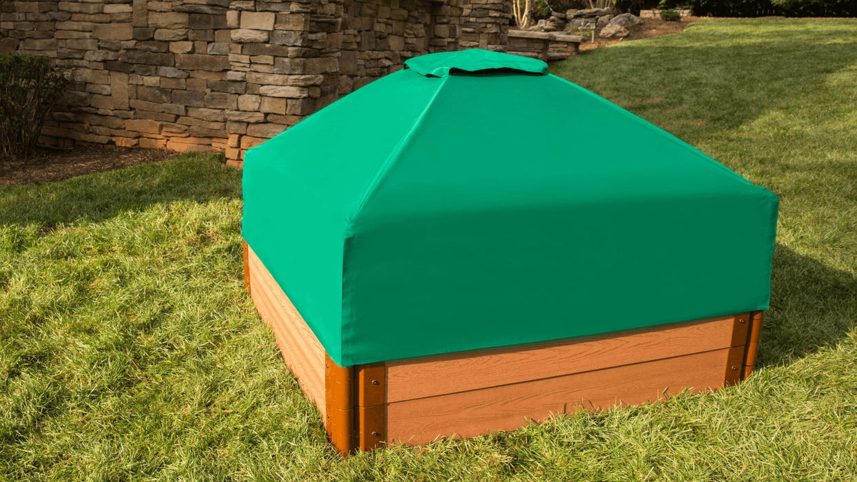 "Tool-Free Classic Sienna 4' x 4' x 11"" Composite Square Sandbox with Cover - 2"" profile Sandboxes Frame It All"