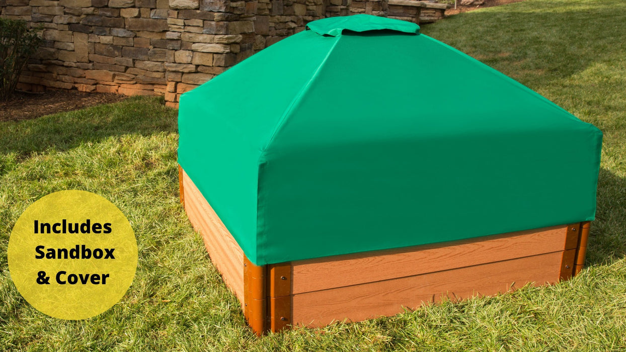 "Tool-Free Classic Sienna 4' x 4' x 11"" Composite Square Sandbox with Cover - 2"" profile Sandboxes Frame It All Classic Sienna 2"" 4'x4'x11"" Square"