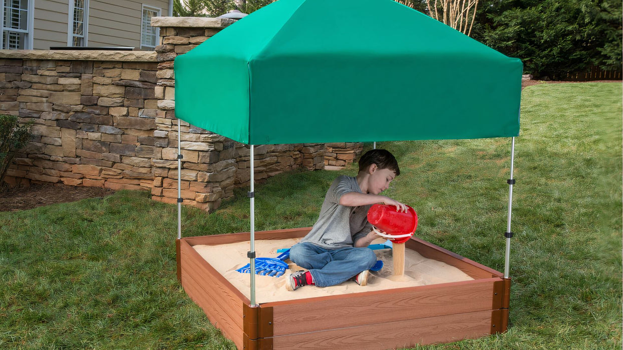 "Tool-Free Classic Sienna 4' x 4' x 11"" Composite Square Sandbox with Cover & Telescoping Canopy - 2"" profile Sandboxes Frame It All"