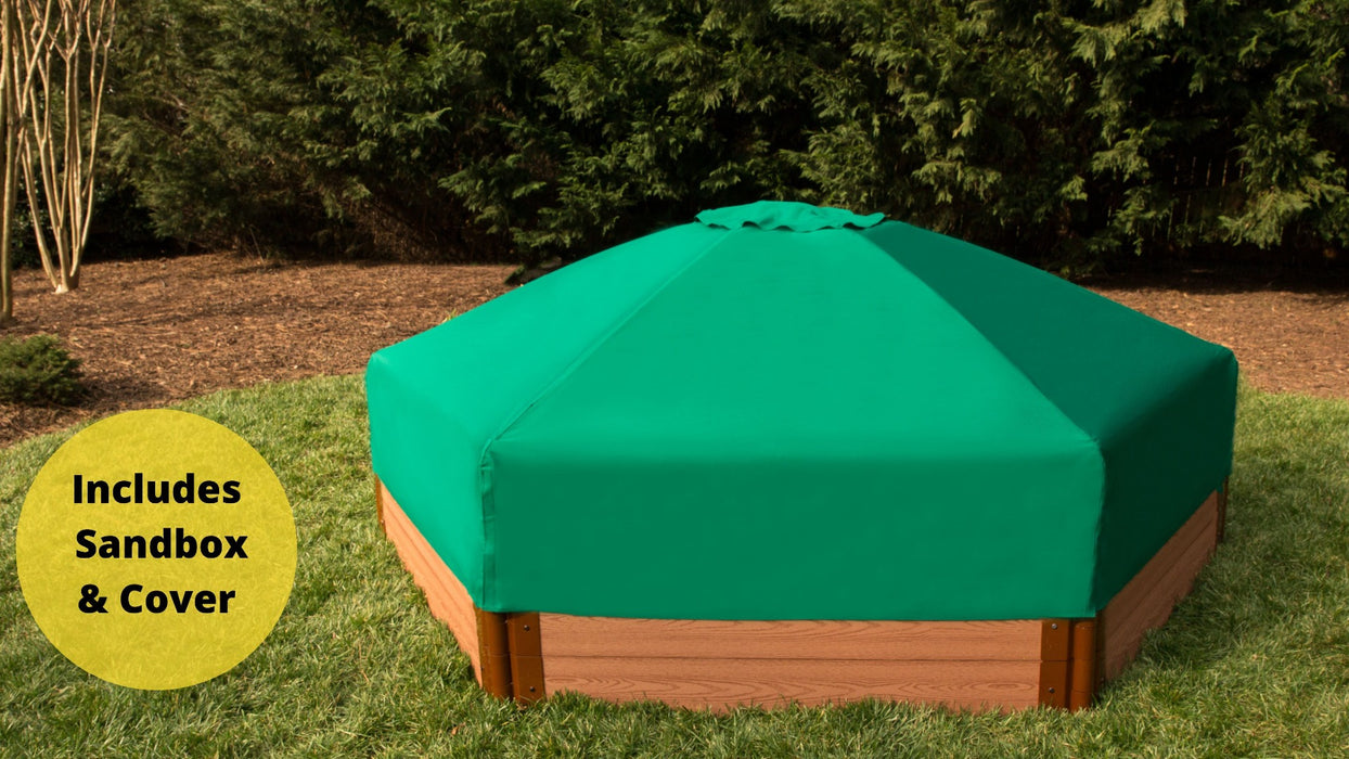 "Tool-Free Classic Sienna 7' x 8' x 11"" Composite Hexagon Sandbox with Cover - 1"" profile Sandboxes Frame It All Classic Sienna 1"" 7'x8'x11"" Hexagon"