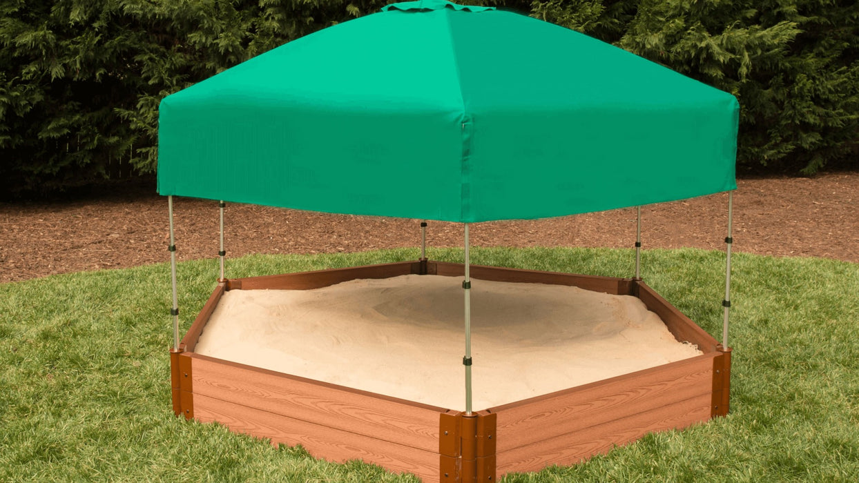 "Tool-Free Classic Sienna 7' x 8' x 11"" Composite Hexagon Sandbox with Cover & Telescoping Canopy - 1"" profile Sandboxes Frame It All"