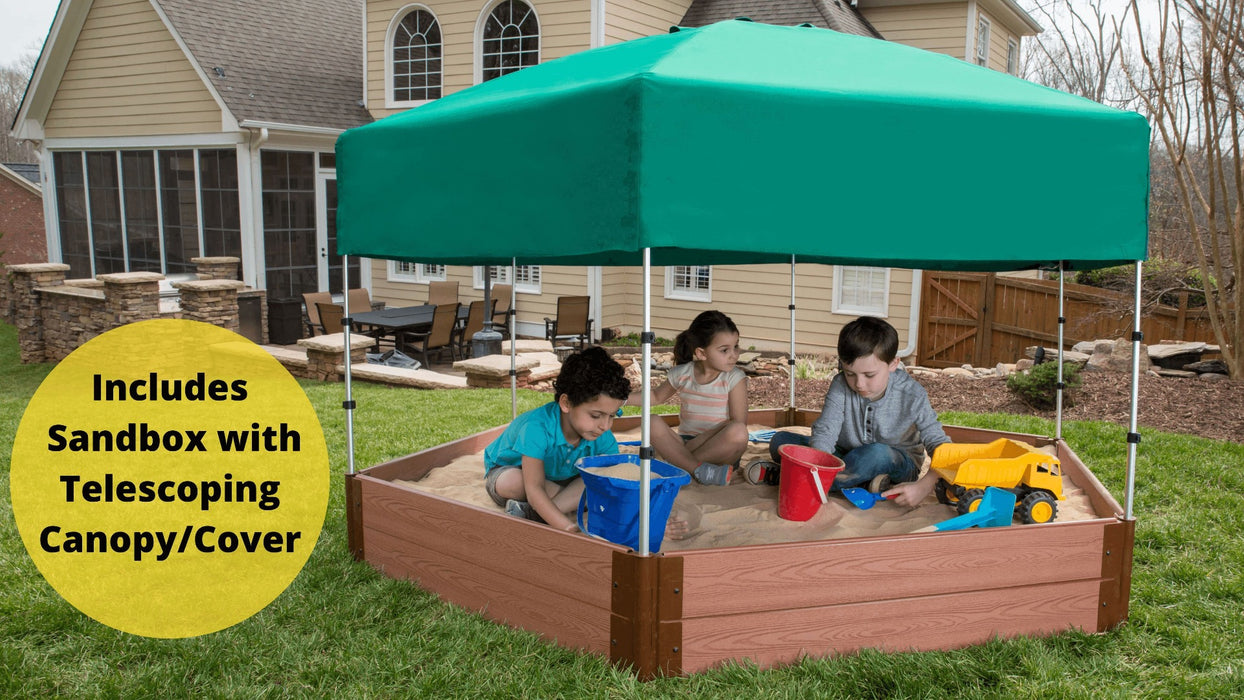 "Tool-Free Classic Sienna 7' x 8' x 11"" Composite Hexagon Sandbox with Cover & Telescoping Canopy - 1"" profile Sandboxes Frame It All Classic Sienna 1"" 7'x8'x11"" Hexagon"