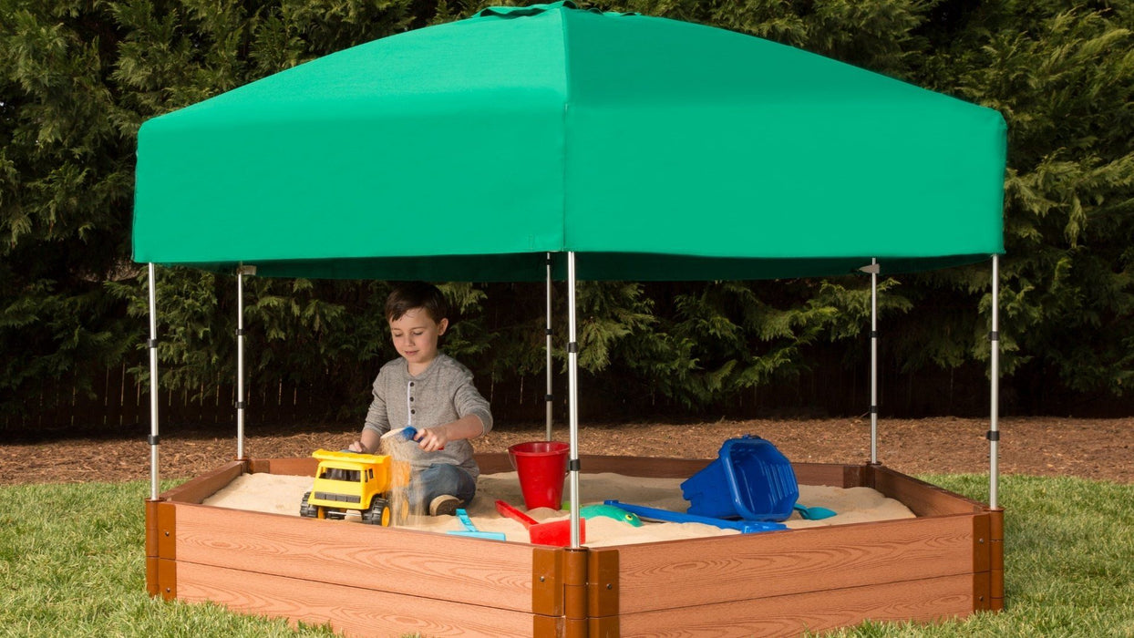 "Tool-Free Classic Sienna 7' x 8' x 11"" Composite Hexagon Sandbox with Cover & Telescoping Canopy - 2"" profile Sandboxes Frame It All"