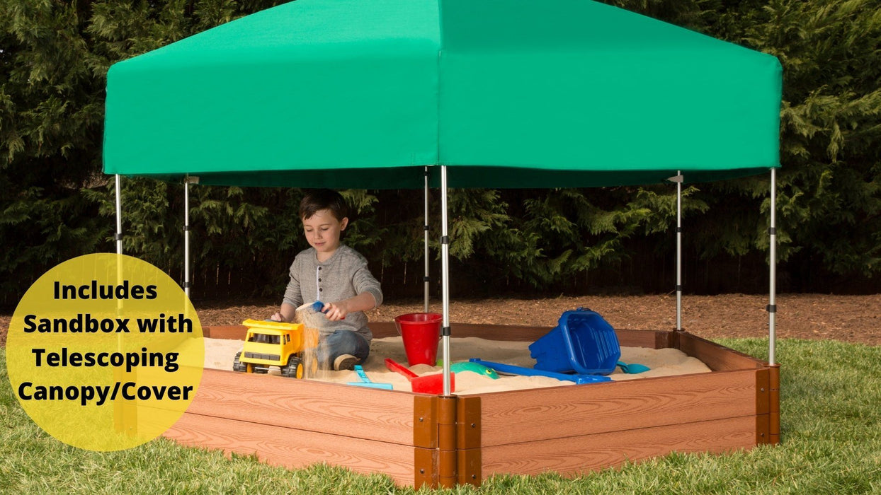 "Tool-Free Classic Sienna 7' x 8' x 11"" Composite Hexagon Sandbox with Cover & Telescoping Canopy - 2"" profile Sandboxes Frame It All Classic Sienna 2"" 7'x8'x11"" Hexagon"
