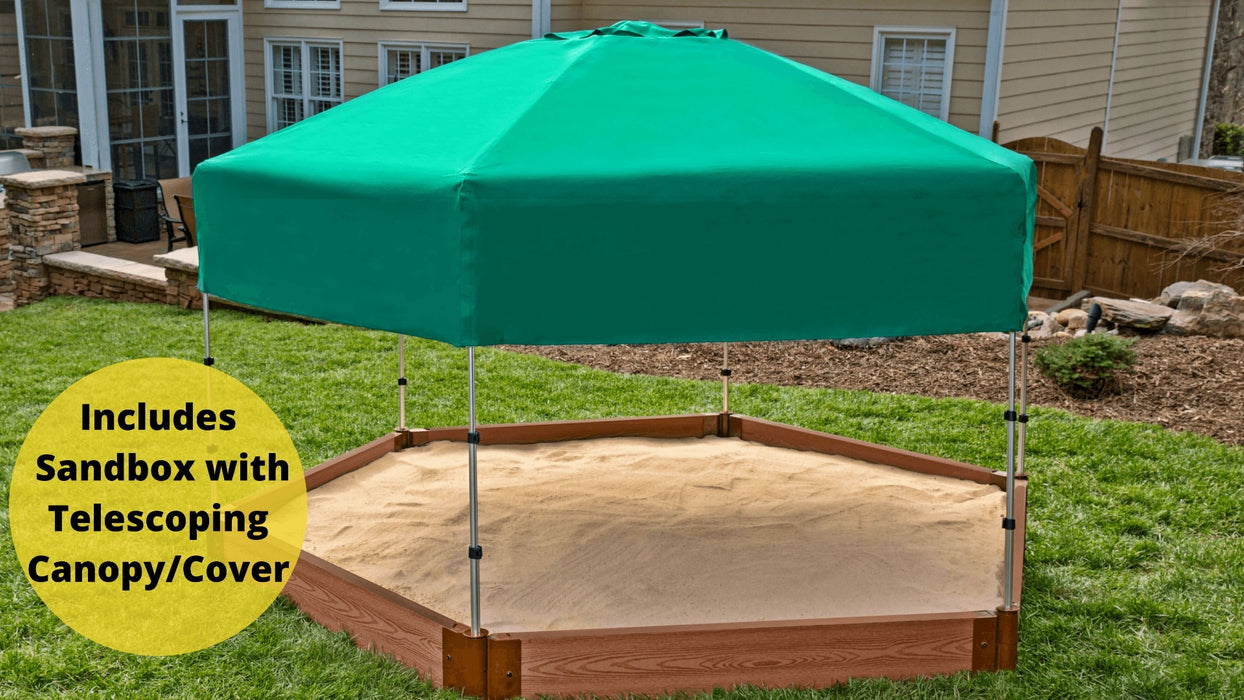"Tool-Free Classic Sienna 7' x 8' x 5.5"" Composite Hexagon Sandbox with Cover & Telescoping Canopy - 1"" profile Sandboxes Frame It All Classic Sienna 1"" 7'x8'x5.5"" Hexagon"