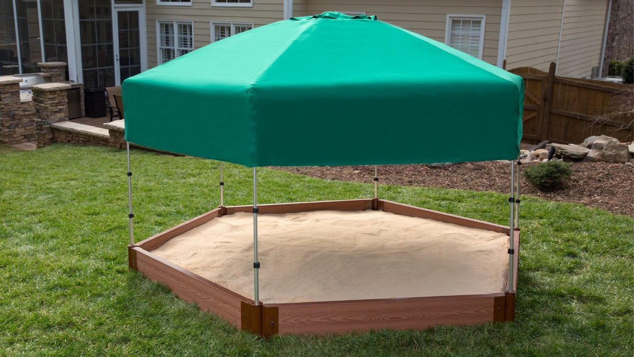 "Tool-Free Classic Sienna 7' x 8' x 5.5"" Composite Hexagon Sandbox with Cover & Telescoping Canopy - 2"" profile Sandboxes Frame It All"