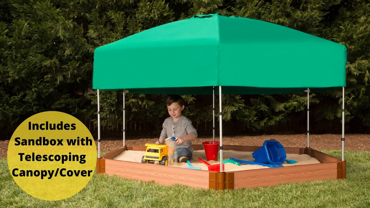 "Tool-Free Classic Sienna 7' x 8' x 5.5"" Composite Hexagon Sandbox with Cover & Telescoping Canopy - 2"" profile Sandboxes Frame It All Classic Sienna 2"" 7'x8'x5.5"" Hexagon"