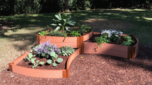 "Tool-Free 'Dakota' - 8' x 8' Curved Corner Terrace Garden Raised Bed (Triple Tier) Raised Garden Beds Frame It All Classic Sienna 2"" 3 Tier"