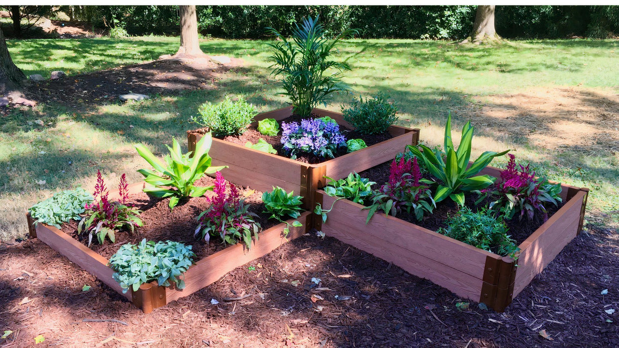 "Tool-Free 'Fort Knox' - 8' x 8' Straight Corner Terrace Garden Raised Bed (Triple Tier) Raised Garden Beds Frame It All Classic Sienna 2"" 1 Level 1st Tier +2 Level 2nd Tier + 2 Level 3rd Tier"