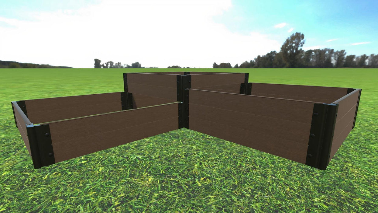 "Tool-Free 'Fort Knox' - 8' x 8' Straight Corner Terrace Garden Raised Bed (Triple Tier) Raised Garden Beds Frame It All Uptown Brown 1"" 2 Level 1st Tier +3 Level 2nd Tier + 2 Level 3rd Tier"