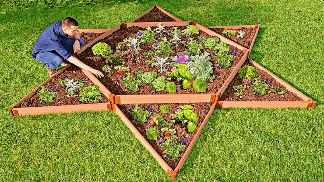 "Tool-Free 'Garden Star' - 12' x 12' x 11"" Terrace Garden Raised Bed (Double Tier) Raised Garden Beds Frame It All Classic Sienna 1"""