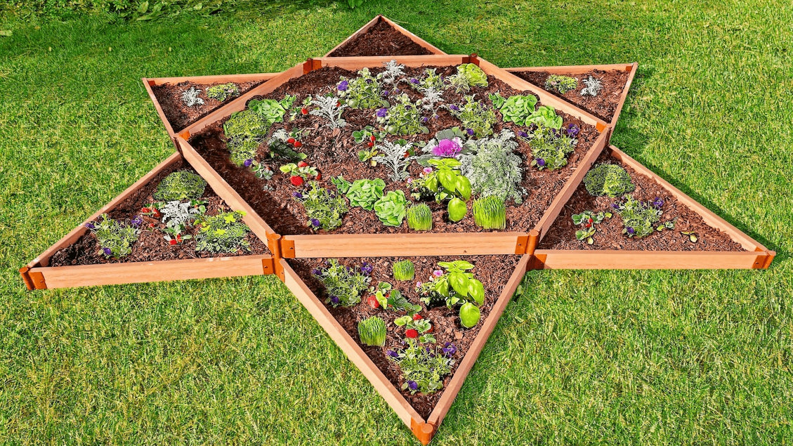 "Tool-Free 'Garden Star' - 12' x 12' x 11"" Terrace Garden Raised Bed (Double Tier) Raised Garden Beds Frame It All Classic Sienna 2"""