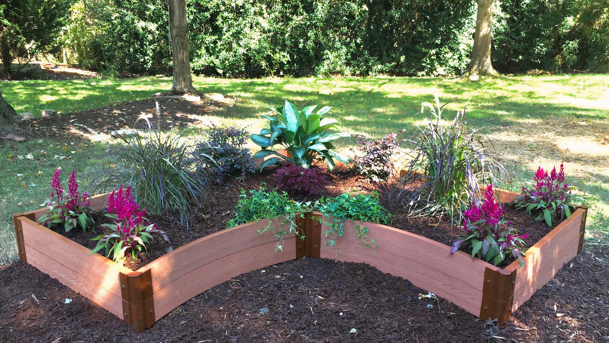 "Tool-Free 'Grand Concourse' - 8' x 8' Interior Curved Corner Raised Garden Bed Raised Garden Beds Frame It All Classic Sienna 2"" 2 = 11"""
