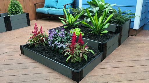 "Tool-Free 'Hanging Gardens of Babylon' - 4' x 6' Terrace Garden Raised Bed (Triple Tier) Raised Bed Planters Frame It All Weathered Wood 1"" 3 Tier"
